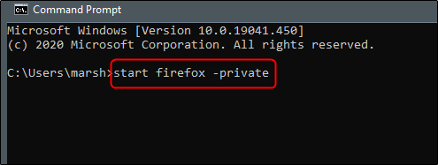 start firefox in private mode using command prompt