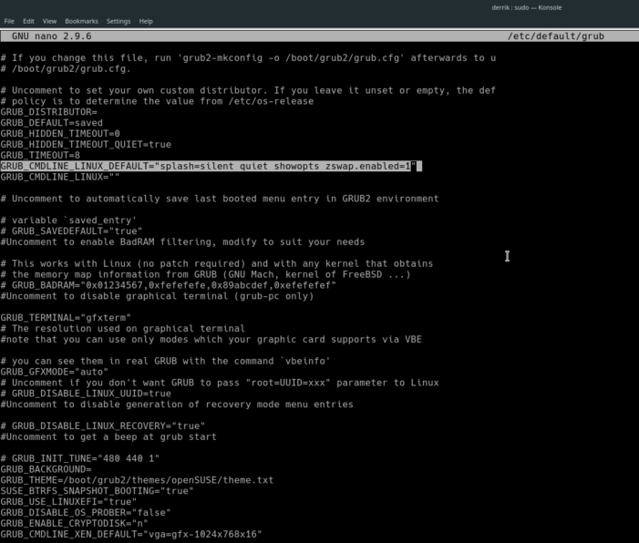 Enable Zswap in Fedora or OpenSUSE