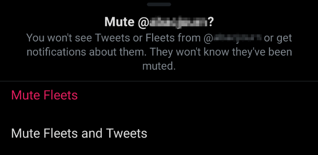 Mute fleets and Tweets from users on Twitter
