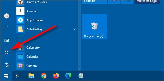 Windows 10 settings gear icon