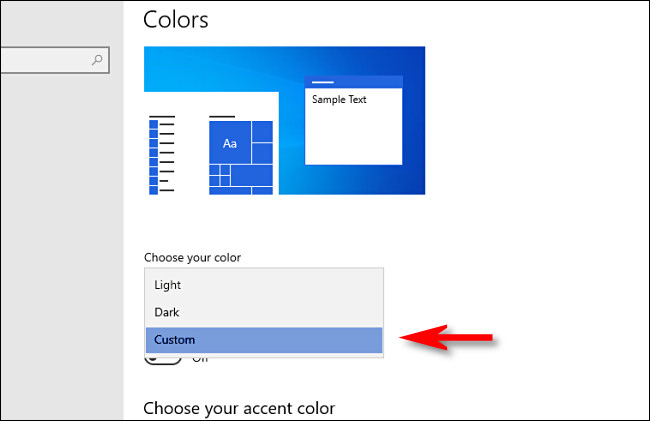 choose your color drop down menu