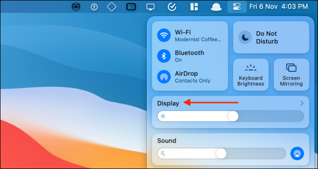 click on display option in control center on mac