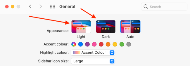 dark mode from general in system preferences on mac