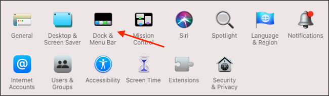 dock and menu bar option in System preferences on macOS Big Sur