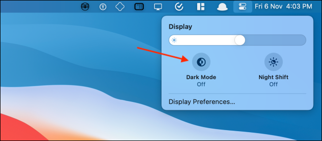 enable dark mode in control center on mac