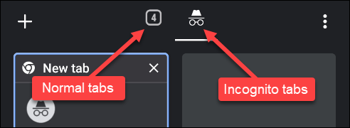 incognito tab vs normal tabs on google chrome android app