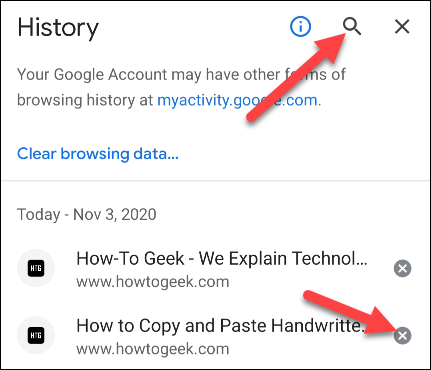 search the history to delete in google chrome's android app