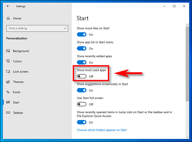 show most used apps switch in WIndows Settings