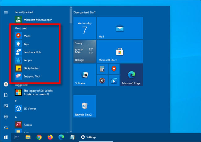 start menu most used apps section