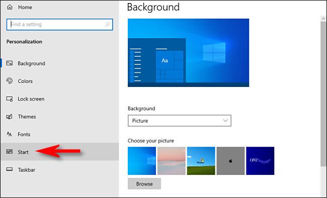 start option in Personalization in WIndows Settings
