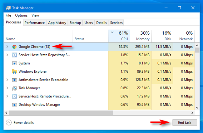 using task manager to end a task