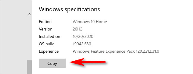 Copy Windows Specifications to share it with someone else
