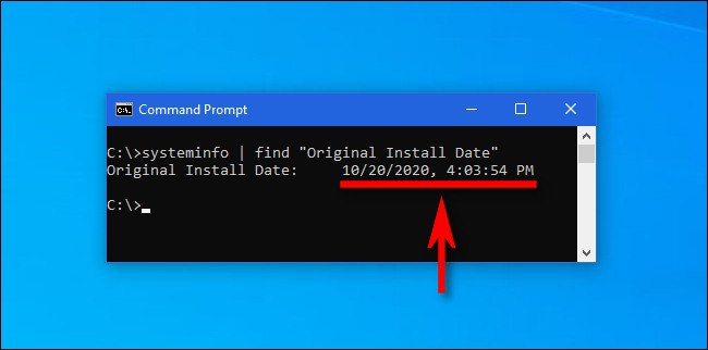 Find original install date command on Command Prompt