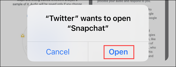 Permission to open the Snapchat app
