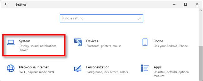 System Settings in Windows Settings on Windows 10