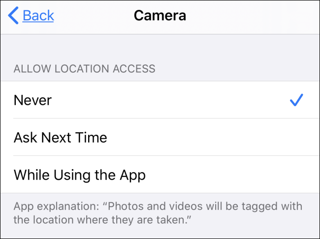 disable location access for Camera app