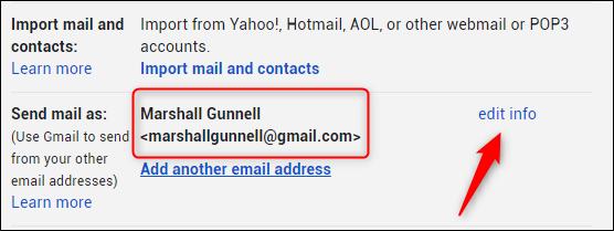 edit info option next to gmail address