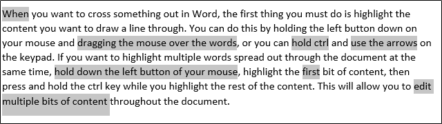 strike through text on ms word