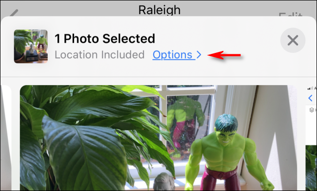 tap on photos Option under the number of images selected