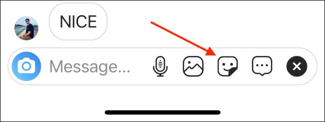 tap on sticker to send sticker selfie in insta chat