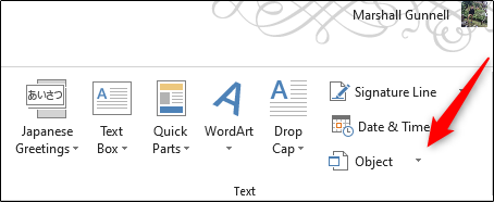 Click on Object option in Text tab in Microsoft Word