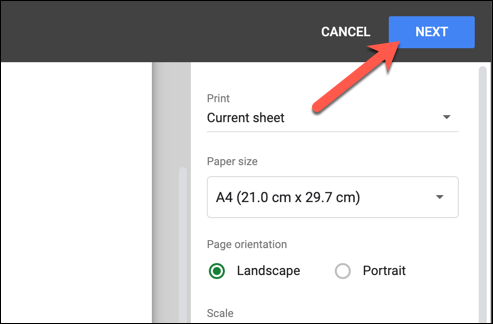 Next to go to printing screen on google sheets