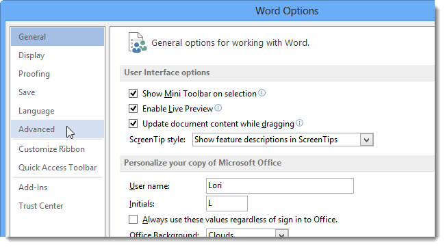 Word Options dialogue box in ms word