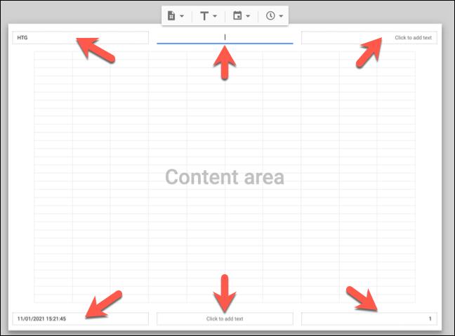 custom header and footer in google spreadsheet