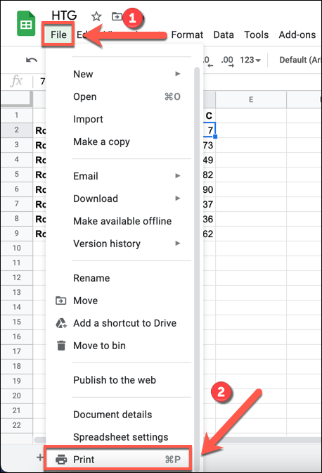 go to file menu in your google spreadsheet