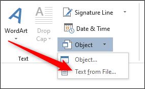 select the text from file option from the object drop down menu