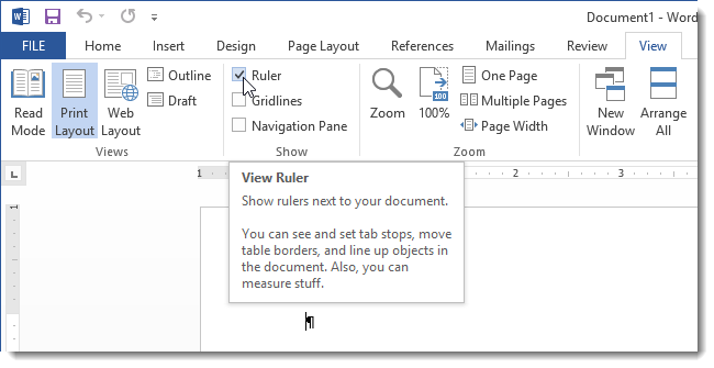 view ruler on your ms word document